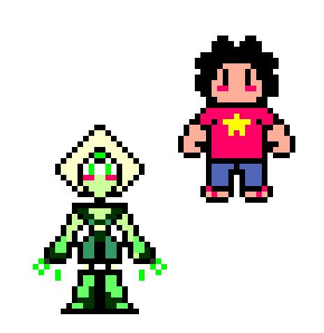 Steven and Peridot  (made by me in pixel creator)