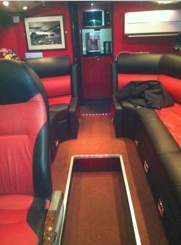 Inside of the tour bus!